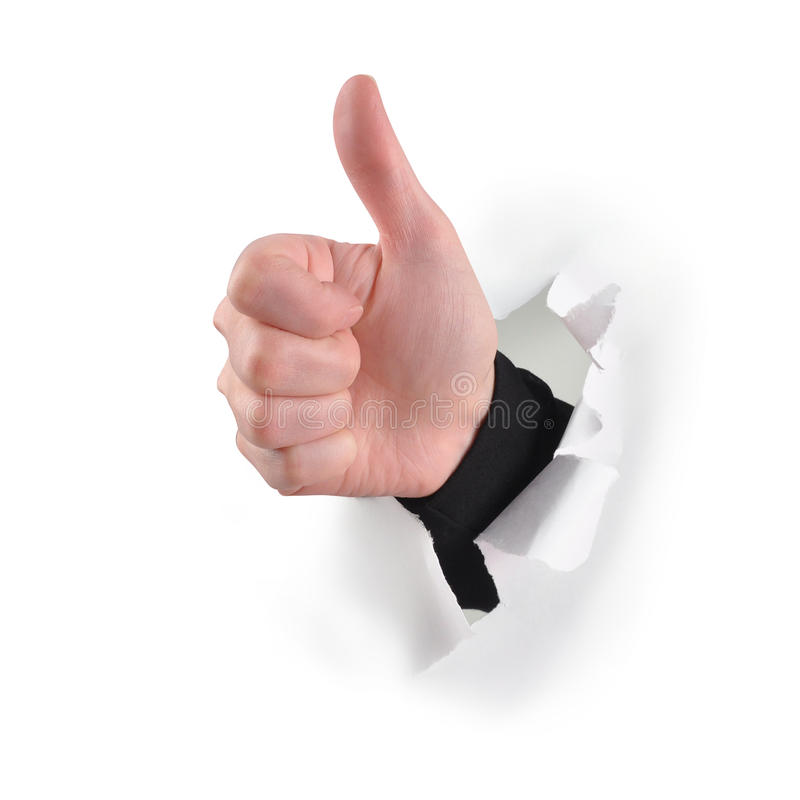 Les pouces aiment vers le haut la main sur le blanc photo libre de droits