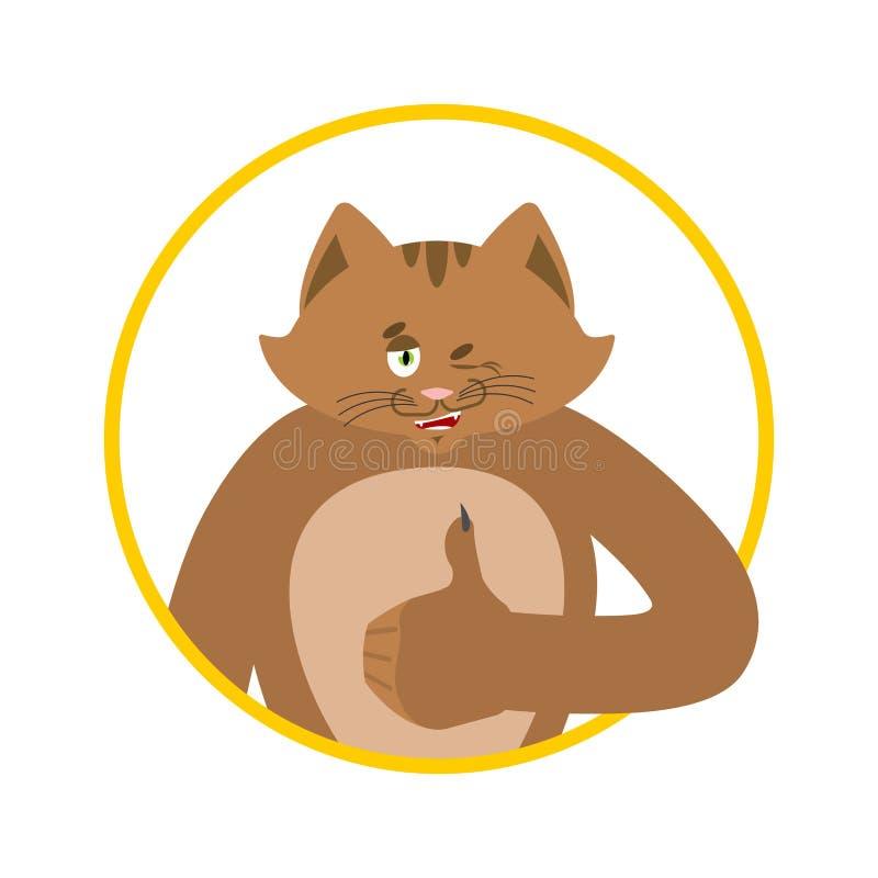 Les pouces de chat se lèvent et des clins d'oeil Emoji heureux d'animal familier Illustrat de Kitty Vector illustration stock