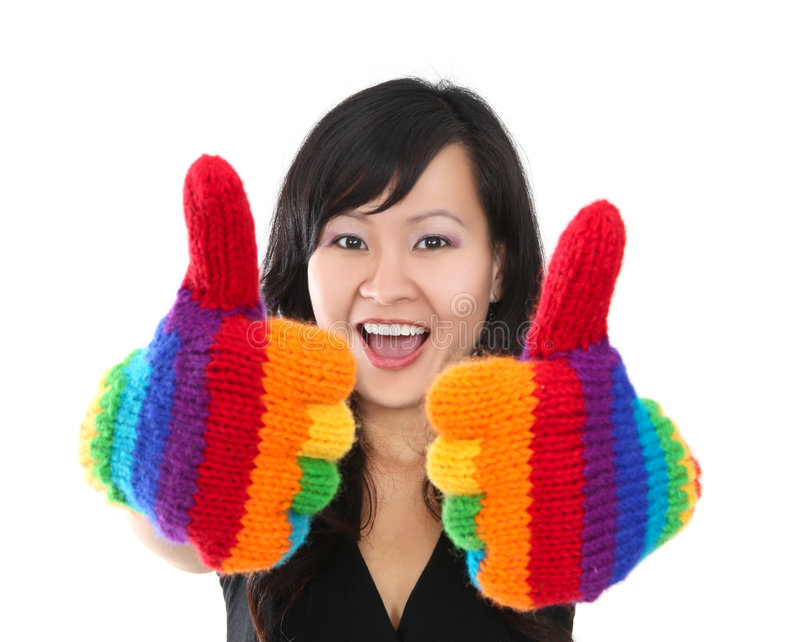 les pouces heureux lèvent la femme images libres de droits