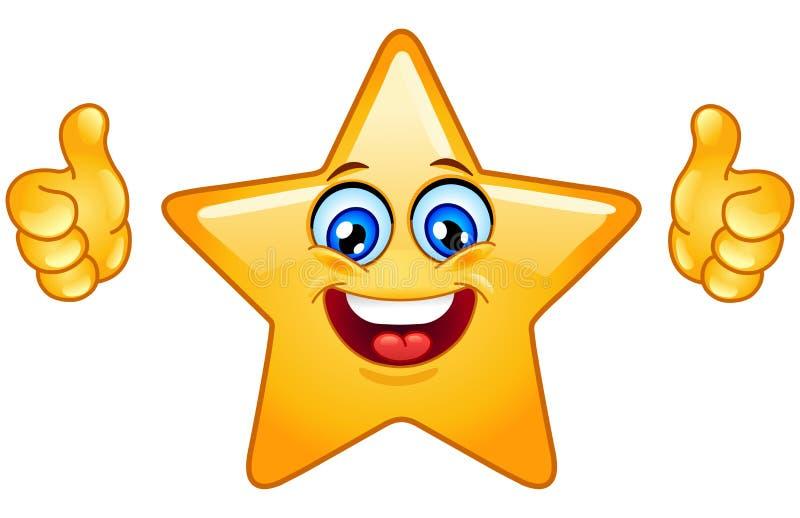 Les pouces lèvent l'étoile illustration stock