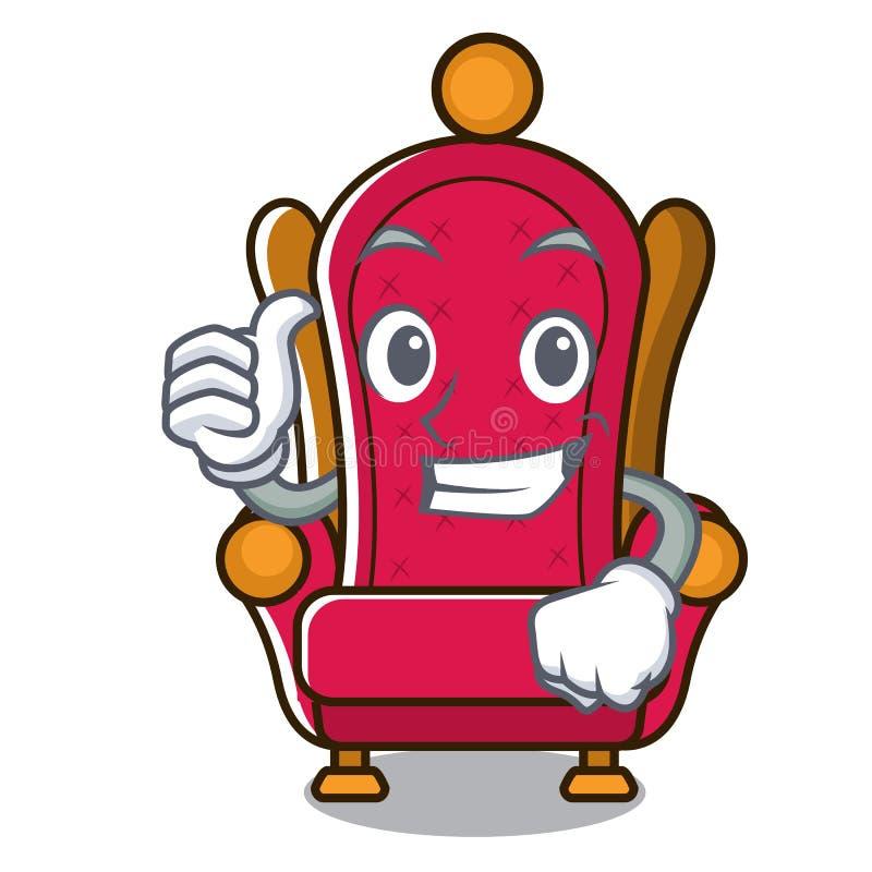 Les pouces lèvent la bande dessinée de caractère de trône de roi illustration libre de droits
