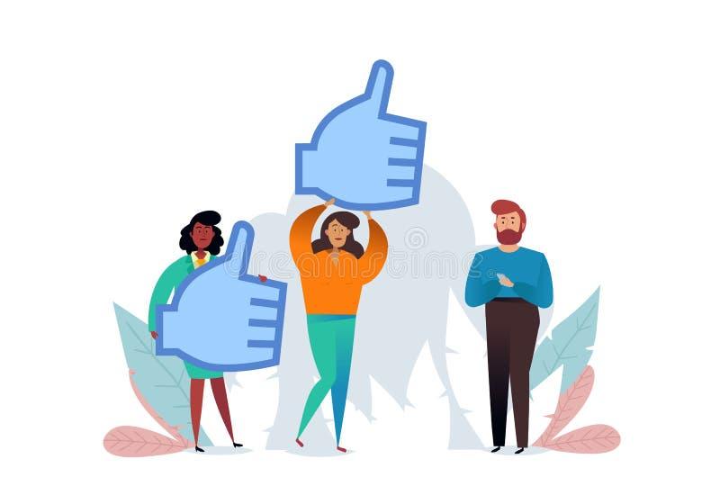 Les pouces l?vent le signe Go?ts et concept de r?action positive Goûts sociaux de réseau, approbation photographie stock