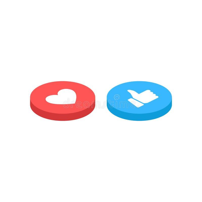 Les pouces se lèvent et l'icône de coeur isométrique sur un fond blanc Réactions compréhensives d'Emoji, imprimées sur le papier  illustration de vecteur