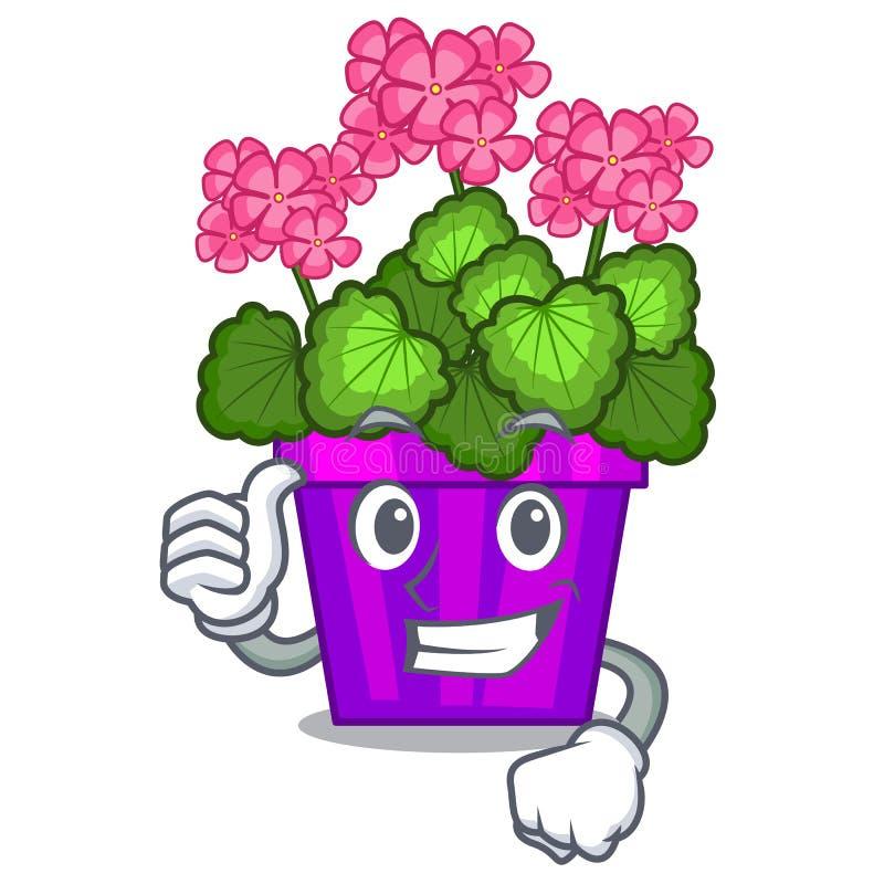 Les pouces vers le haut des fleurs de géranium collent la tige de caractère illustration libre de droits