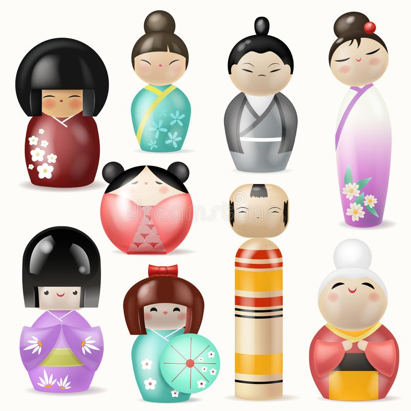 Les poupées japonaises de Kokeshi dirigent le beau geisha de caractère de femme de fille dans le kimono traditionnel femelle de g illustration de vecteur