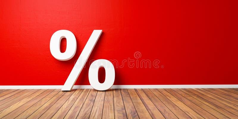 Les pour cent blancs se connectent le plancher en bois de Brown contre le mur rouge - concept de vente - l'illustration 3D illustration stock
