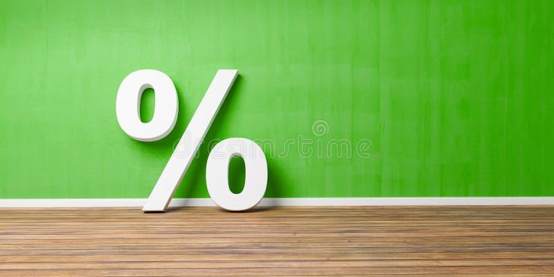Les pour cent blancs se connectent le plancher en bois de Brown contre le mur vert - concept de vente - l'illustration 3D photo stock