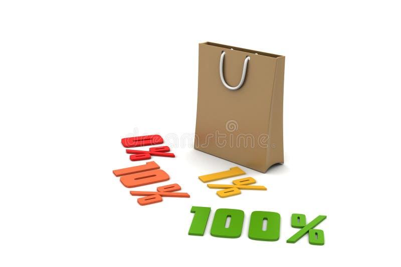 Les pour cent de finances de concept avec portent le sac illustration stock