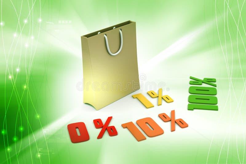Les pour cent de finances de concept avec portent le sac illustration de vecteur