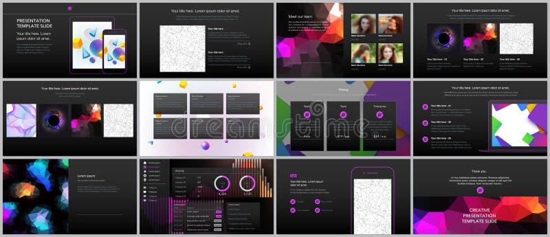 Les présentations minimales, calibres de portfolio avec les milieux géométriques vibrants ont fait des formes simples dans le sty illustration stock