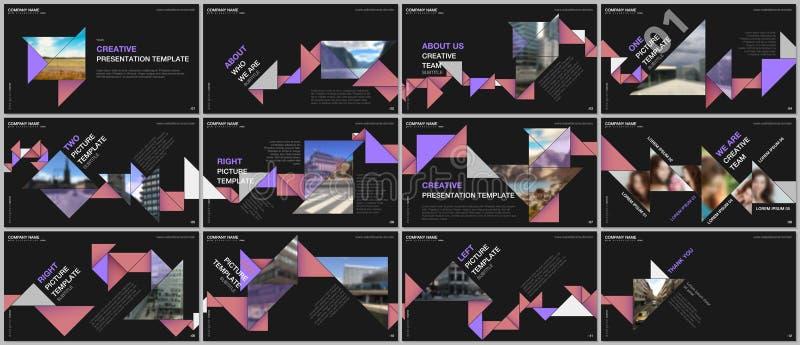 Les présentations minimales conçoivent, des calibres de vecteur de dossier avec l'origami coloré de triangle empaquettent des élé illustration libre de droits