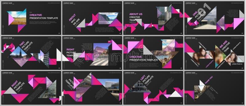 Les présentations minimales conçoivent, des calibres de vecteur de dossier avec l'origami coloré de triangle empaquettent des élé illustration stock