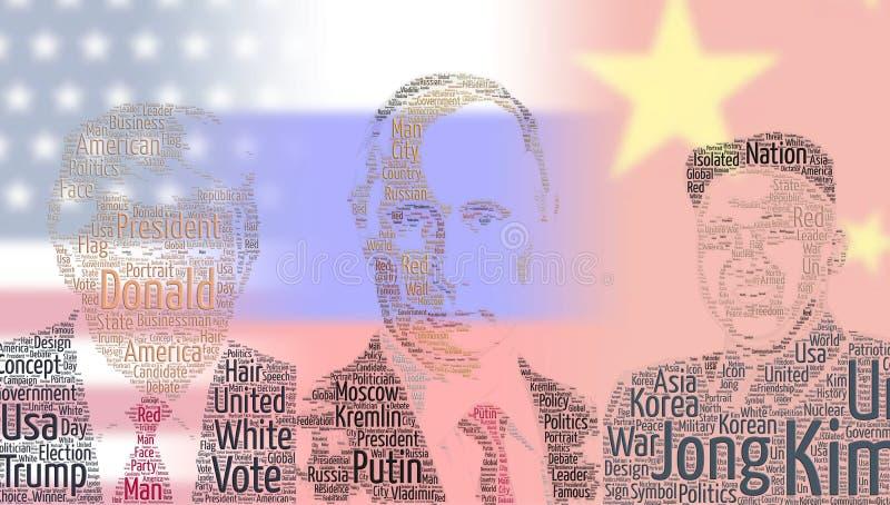 Les Présidents Word Cloud avec des drapeaux illustration de vecteur