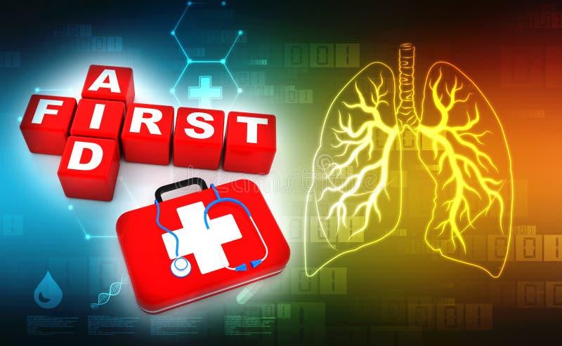 Les premiers secours cubent le kit des mots croisé 3d, du stéthoscope et des premiers secours à l'arrière-plan médical de technol illustration stock
