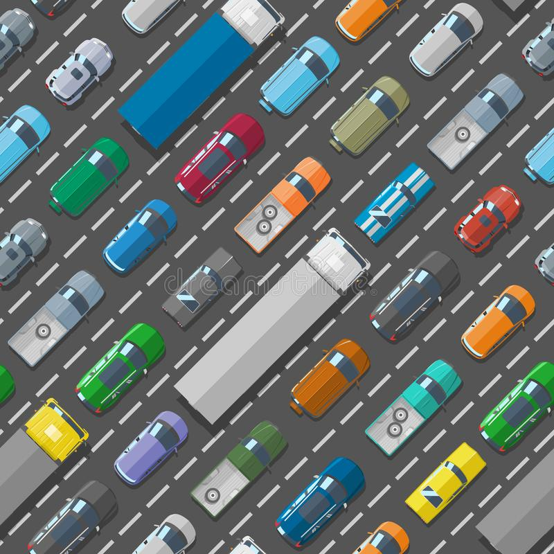 Les problèmes de route d'embouteillage de transport de ville de véhicule de voitures dirigent le fond sans couture de modèle illustration de vecteur