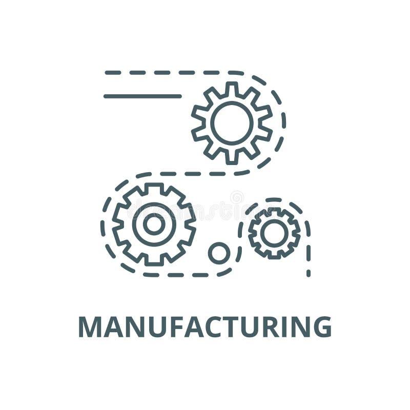 Les processus de fabrication dirigent la ligne icône, concept linéaire, signe d'ensemble, symbole illustration stock