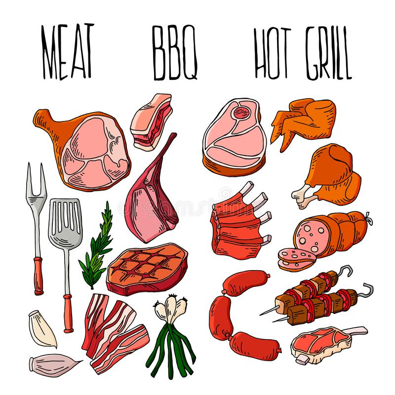 Les produits de vecteur de d?ner de partie de r?tisserie de viande de gril de BBQ ? la maison embrochent griller la viande plate  illustration de vecteur