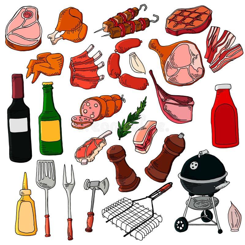Les produits de vecteur de d?ner de partie de r?tisserie de viande de gril de BBQ ? la maison embrochent griller la viande plate  illustration libre de droits