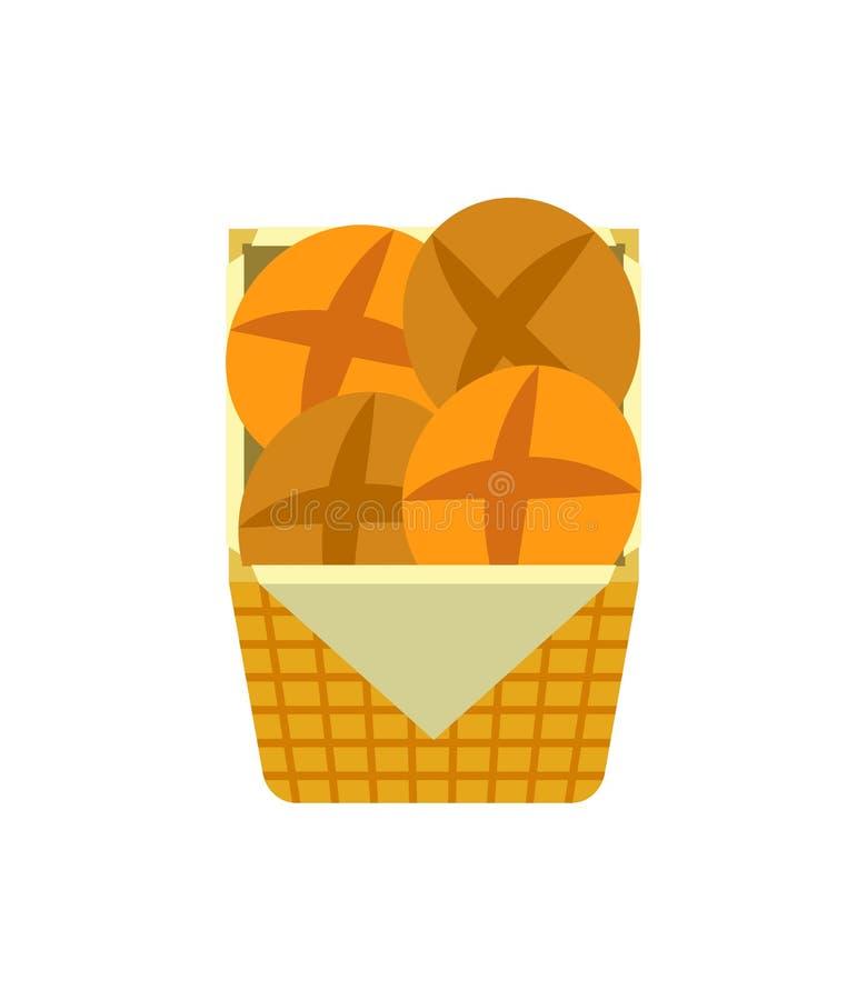 Les produits frais de boulangerie et de pâtisserie de petits pains savoureux dirigent illustration libre de droits