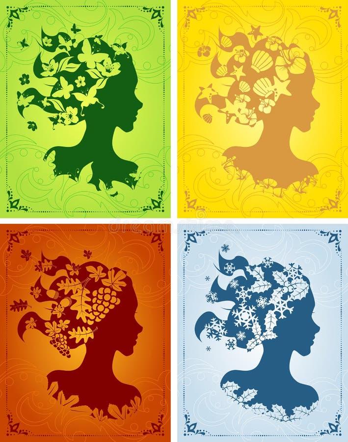 Les profils des femmes saisonnières colorées illustration stock