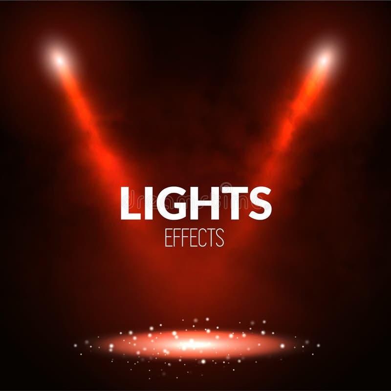 Les projecteurs de projecteurs illumine la scène avec les particules rougeoyantes Montrez le théâtre, danse, illustration de prés illustration de vecteur