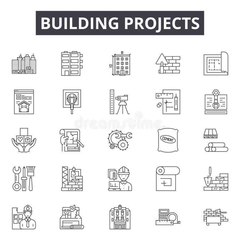 Les projets de construction rayent des icônes, signes, ensemble de vecteur, concept d'illustration d'ensemble illustration de vecteur