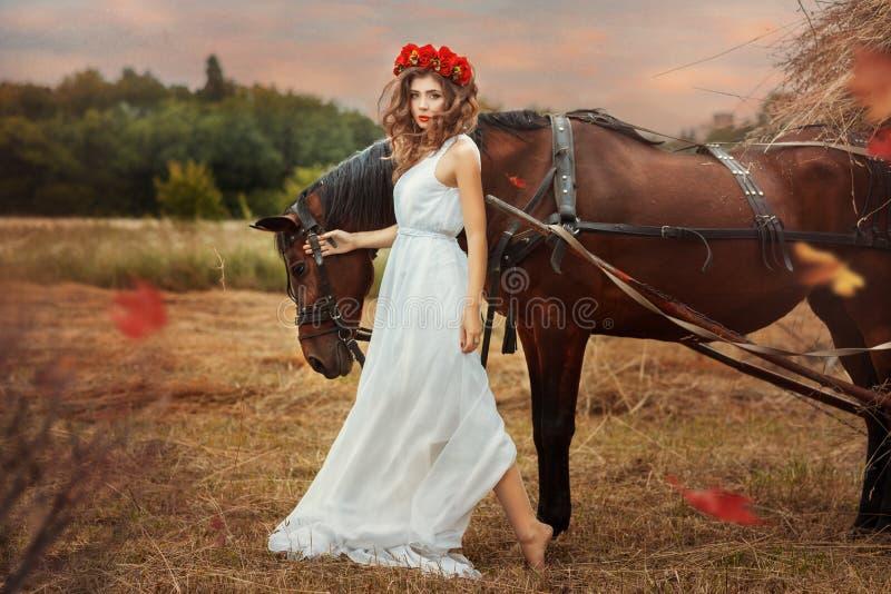 Les promenades de fille dans le champ avec un cheval tombent photographie stock