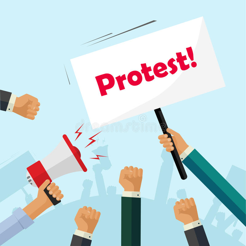 Les protestataires remet tenir des signes de protestation, personnes de foule, politiques, poings d'activiste illustration stock