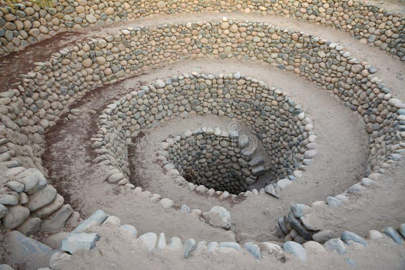 Les puits antiques s'approchent de la ville Nazca peru image stock