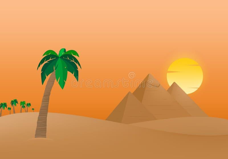 Les pyramides égyptiennes de Gizeh au lever de soleil dans le sable dunaire avec le soleil orange à l'arrière-plan des palmiers a illustration stock