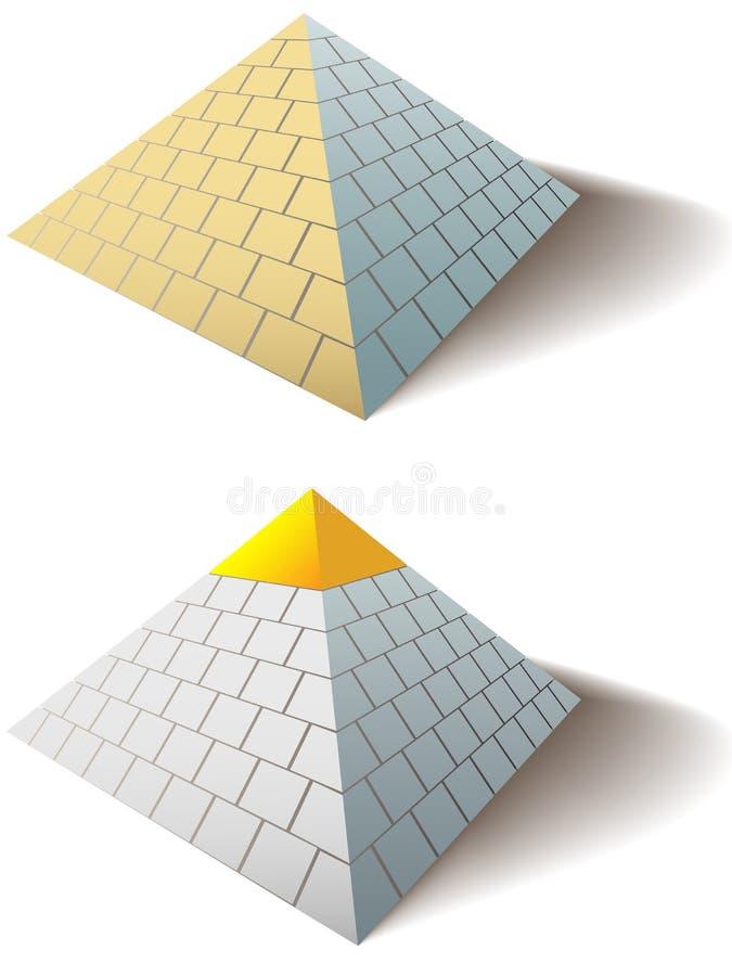 Les pyramides grandes égyptiennes ont placé une pyramide de capuchon d'or illustration stock