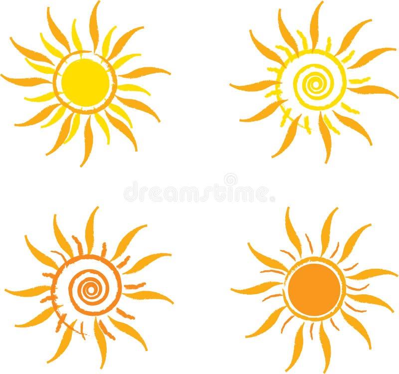 Les quatre soleils illustration de vecteur