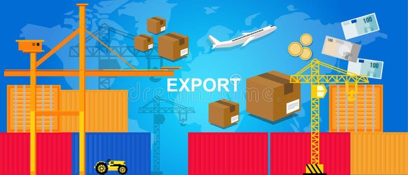 Les récipients logistiques avion de port de transport de commerce d'exportations et l'argent de grue empaquettent le commerce mon illustration libre de droits