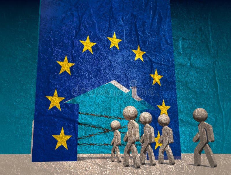Les réfugiés vont en Europe illustration libre de droits