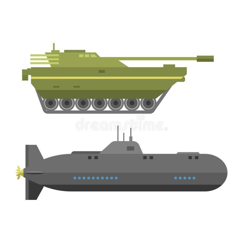 Les réservoirs de guerre d'armée de technique et la défense militaires d'armure de technique d'industrie dirigent la collection illustration de vecteur