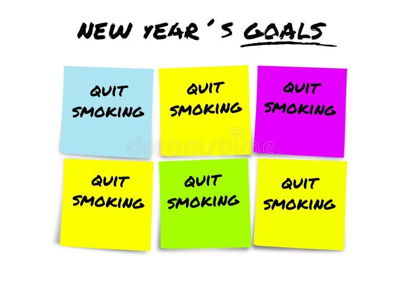 Les résolutions et les buts de nouvelle année dans les notes collantes dans la détermination d'engagement ont environ stoppé fume photographie stock