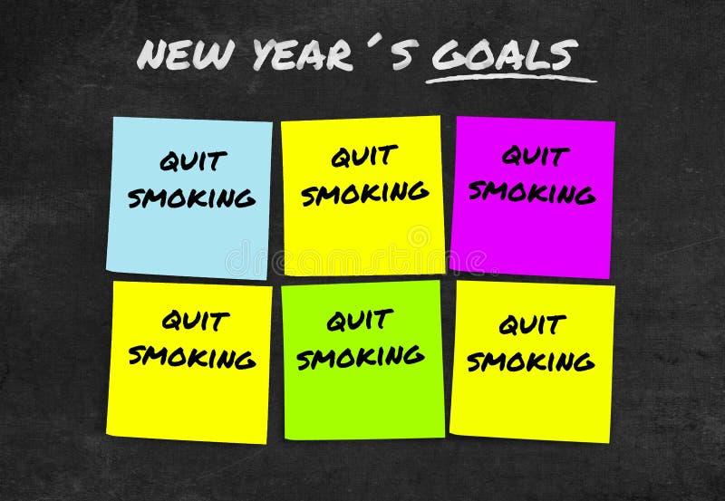 Les 2019 résolutions manuscrites et les buts de nouvelle année dans les notes collantes dans la détermination d'engagement ont en photo stock