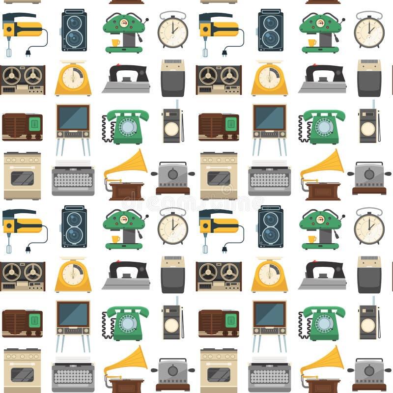 Les rétros appareils électroménagers de vintage dirigent le modèle sans couture de vaisselle de cuisine illustration libre de droits
