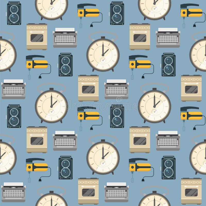 Les rétros appareils électroménagers de vintage dirigent les travaux domestiques sans couture d'ustensile de technologie de fond  illustration stock