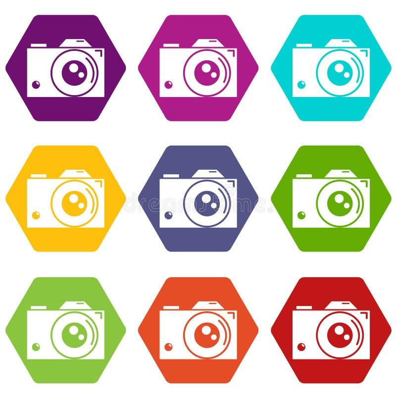 Les rétros icônes d'appareil-photo ont placé le vecteur 9 illustration stock