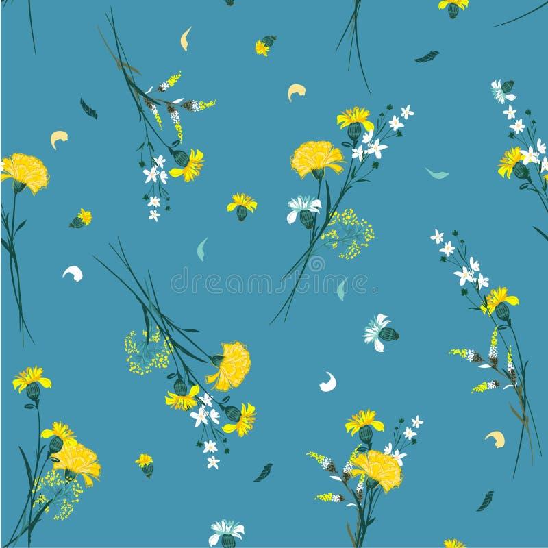 Les rétros motifs botaniques de modèle de fleur sauvage ont dispersé aléatoire Mer illustration de vecteur