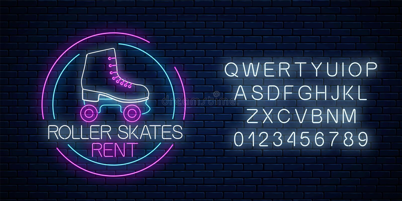 Les rétros patins de rouleau louent l'enseigne au néon rougeoyant dans le cadre de cercle avec l'alphabet Symbole de zone de pati illustration stock