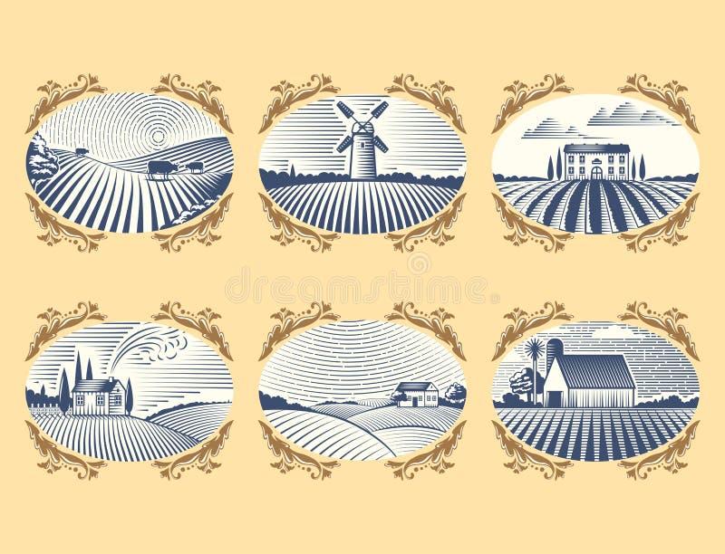 Les rétros paysages dirigent le dessin antique scénique de campagne graphique d'agriculture de maison de ferme d'illustration illustration stock