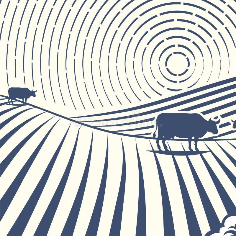 Les rétros paysages dirigent le dessin antique scénique de campagne graphique d'agriculture de maison de ferme d'illustration illustration de vecteur