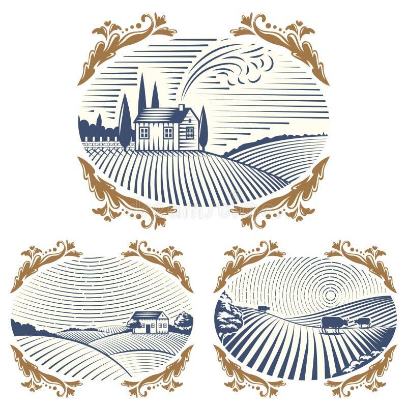 Les rétros paysages dirigent le dessin antique scénique de campagne graphique d'agriculture de maison de ferme d'illustration illustration libre de droits