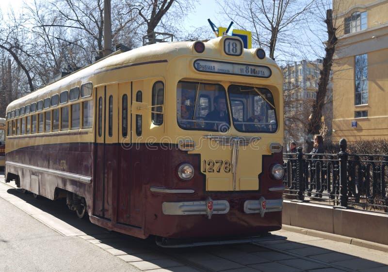 Les rétros trams sur le défilé des trams à Moscou, photo libre de droits