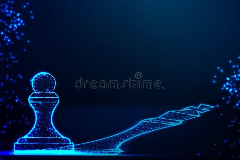 Les rêves de gage soient une reine, concept d'affaires, motivation, bas poly, abstrait fond de conception de wireframe illustration de vecteur