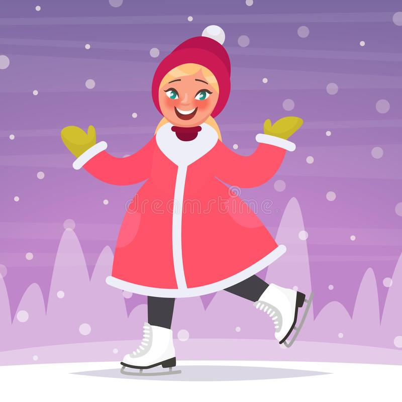 Les raies de glace heureux de fille sur une piste de patinage à l'arrière-plan d'un hiver aménagent en parc Illustration de vecte illustration stock
