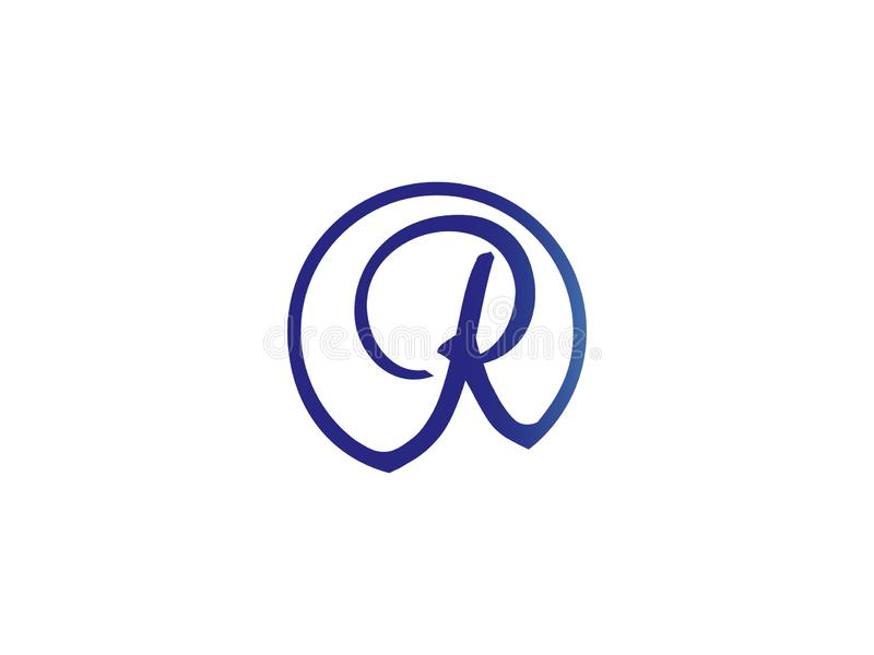 Les raies R de lettre initiale entourent la conception bleue Logo Graphic Branding Letter Element de couleur illustration de vecteur