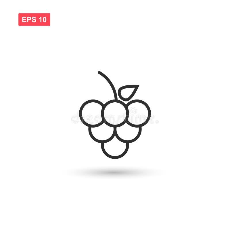 Les raisins avec la conception de vecteur d'icône de feuille ont isolé 3 illustration stock